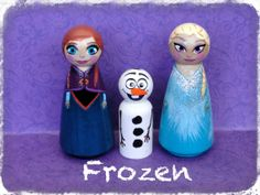 Frozen's Elsa Anna and Olaf Peg People Wood by NettiesHeARTStudio, $120.00