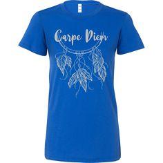 Carpe Diem w/ Beautiful Dreamcatcher & * Bohemian Inspired Fashion T-Shirt / - Silver Print
