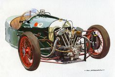 Stripped-out Morgan three wheeled racer.  I painted this recently as a bit of light relief from a series of paintings for a calendar that I was working on.