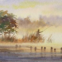 """Fisherman at Dawn"" Original miniature watercolor painting (4""x4"" image size)framed (9""x9"" framed size) in 1/2"" wide cherry frame with do..."