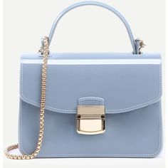 SheIn(sheinside) Baby Blue Pushlock Closure Plastic Handbag With Chain ($15) ❤ liked on Polyvore featuring bags, handbags and shoulder bags