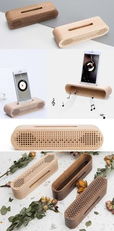 Bamboo Wooden Radio Style Speaker Sound Amplifier iPhone SmartPhone Charging Station Stand Dock Mount Holder Charge Cord Cable Organizer With Pen Holder for iPhone 77 Plus Small Wood Projects, Diy Projects, Woodworking Plans, Woodworking Projects, Wood Crafts, Diy And Crafts, Wooden Speakers, Cable Organizer, Interior Design Living Room