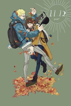 - day of TsukiYama<<oh that's my birthday Haikyuu Ships, Haikyuu Fanart, Haikyuu Anime, Tsukiyama Haikyuu, Haikyuu Karasuno, Fanarts Anime, Anime Characters, Tsukishima X Yamaguchi, Drawing Cartoon Faces