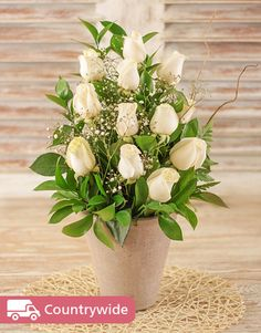 Symmetrical cream roses in a pottery vase