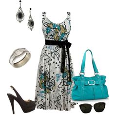 Dress it up in 50's style. Love the dress, pumps and turquoise bag.