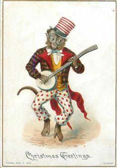 Full Sized Image: monkey wearing plaid jacket with red, white and blue hat plays banjo - TuckDB Ephemera Circus Poster, Circus Art, Circus Theme, Circus Room, Chinoiserie, Circus Illustration, Circus Crafts, Circo Vintage, Monkey Art