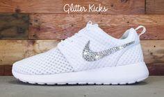 Women's Nike Roshe One Breeze Casual Shoes By Glitter Kicks - Customized With Swarovski Elements Crystal Rhinestones - White/White