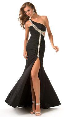 High Low One-shoulder Beaded Chiffon Evening Dress Ed0234