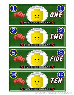 FREE Printable LEGO Money from Over the Big Moon. and LEGO Hacks, Ideas and Activities for Kids on Frugal Coupon Living.