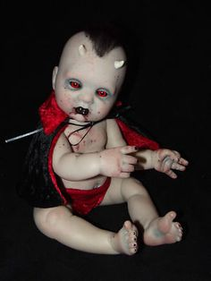 Goth Demon Anatomically Correct Bloody Demon Baby Horror Doll | eBay