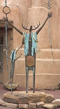 Bronze sculptures outside an art gallery in Santa Fe.