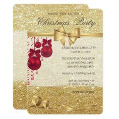 Elegant Christmas BallsGlittery Christmas Party Card  $2.26  by Biglibigli  - cyo diy customize personalize unique