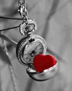 heart, clock, and red image Black White Red, Black And White Pictures, Red And Grey, Color Splash, Color Pop, Colour, Splash Photography, Black And White Photography, Eckhart Tolle Meditation