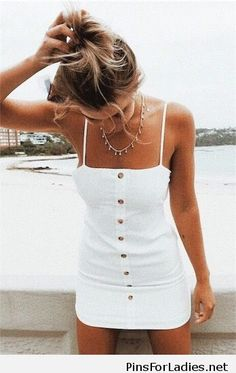Nice white dress with a nice necklace | Pins for Ladies