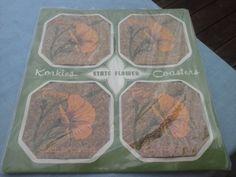 California Poppy 4 PC. Coaster Set Korkies by bonniescollectibles, $5.00