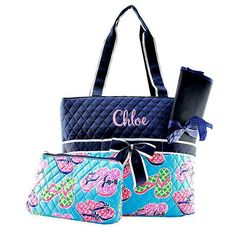 Personalized Flip Flops Quilted 3pc Diaper Bag - Navy & Aqua