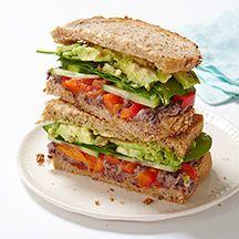 Veggie Sandwich with Lemony-Black Bean Spread