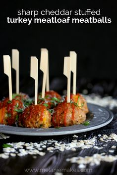 Sharp Cheddar Stuffed Turkey Meatloaf Meatballs