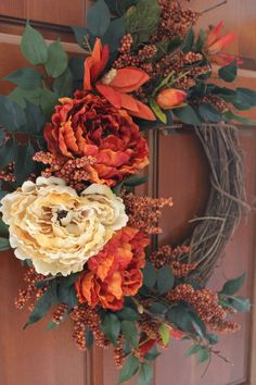 Fall Grapevine Burnt Orange and Golden Peonies with Orange image 3 Thanksgiving Wreaths, Autumn Wreaths, Thanksgiving Decorations, Holiday Wreaths, Fall Door Wreaths, Country Wreaths, Diy Fall Wreath, Fall Flower Arrangements, Autumn Decorating