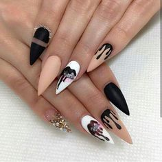 nail art designs | kylie cosmetics | signatures | stiletto | matte | black