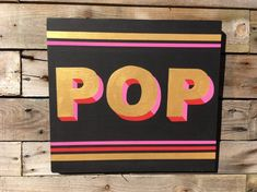 Excited to share this item from my shop: Hand Painted 'POP' Wooden Sign, Seaside Art, Beach Art, Wooden Letters, Wooden Signs, Driftwood Frame, Gold Wall Art, Gold Walls, Hello Sunshine, Bright Pink