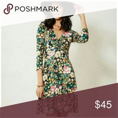 Anthropologie Lilka Torsade Green Motif Lilka's casual Jersey  dress features  Floral graphic and playful print bright pop of color fetching bodice twist Pullover styling 95% Rayon, 5% spandex  Excellent Pre Owned Condition Anthropologie Dresses