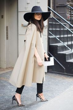 The Best New York Fashion Week Street Style // The hat, the Cape trench, the lace heels...sigh. Beautiful style