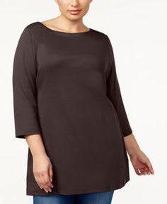 Karen Scott Plus Size Cotton Tunic, Created for Macy's - Brown 1X