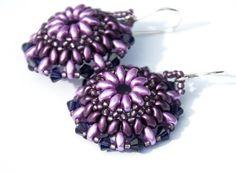 Purple Flower Earrings, Beaded, Boho, Lilac, Lavendar, Amethyst, Circle Earrings, Bead Weaving by seedbeadsofchange on Etsy