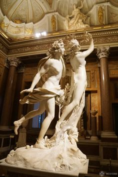 A marble sculptor of famous sculptor Bernini in the villa Borghese in Rome