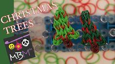 How to make a Rainbow Loom Band Christmas Tree Charm on a staggered loom