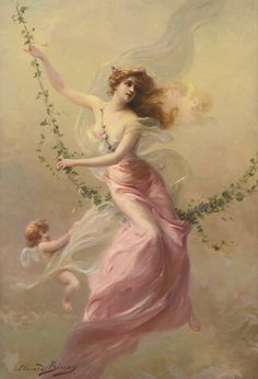Edouard Bisson (1856-1939), French painter. Born in Paris in 1856, Bisson studied art under one of the most successful of French artists, Jean Leon Gerome. Image of a lady in pink on a green vine swing with a cupid.