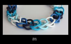 Necklace Blue Chains - detail by An & Art, via Flickr - Anja Overdijk