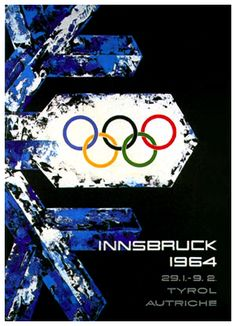 1964 ~ INNSBRUCK WINTER OLYMPICS ~  Official poster for the 1964 Winter Olympics, held at the Tyrolian Mountain Resort of Innsbruck, Austria. With a brilliant look at the Olympic rings inside a crystalline snowflake, graphic artist Wilhelm Jaruska designed both a spectacular and historic work of sports art.