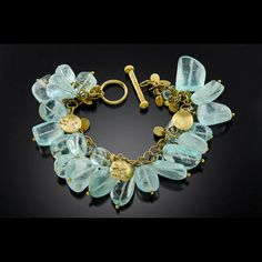 Gold aquamarine bracelet with diamonds by Agnieszka Winograd