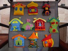 10 db filc házikó - Bogyó és Babóca - (550ft/db) faldekor, fali dekoráció, babaszobadekoráció, függődísz, Baba-mama-gyerek, Játék, Otthon, lakberendezés, Gyerekszoba, Meska