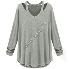 Gray Off Shoulder V Neck Top  I have a few, please don't Buy this Listing I will set you up a Listing   Casual Off Shoulder Long Sleeve V Neck Top Sweaters