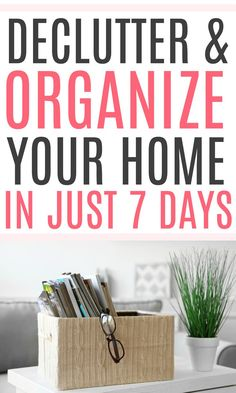 Dealing with a messy home? Check out these easy tips to declutter and organize your home in just 7 days. You don't need to be a minimalist to have a decluttered home. Getting Rid Of Clutter, Getting Organized, Organize Your Life, Organizing Your Home, Organisation Hacks, Storage Organization, Clutter Free Home, Lifestyle Group, Money Saving Tips