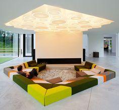 Home Room Design, Interior Design Living Room, Living Room Designs, Interior Decorating, Modern Interior, Sofa Design, Furniture Design, Lounge Design, Sunken Living Room