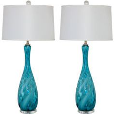 Peacock Blue Vintage Italian Lamps with White Ribbon Swirls