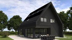 modern woningontwerp zwart Bungalow, Garage Doors, Exterior, Cabin, House Styles, Building, Outdoor Decor, Home Decor, Dreams