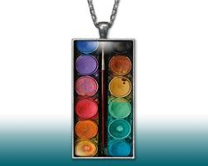 Watercolors Paint Set Artist Pendant Charm Necklace Custom Silver Plated Jewelry