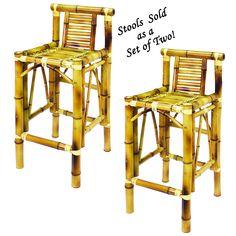 RAM Game Room Bamboo Furniture Set of Two Bamboo Tiki Bar Stools TBSTLGlass Billiard Lighting RG360 ORB