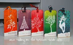 Some fiddling on the kitchen table: A Set of Holiday Tags...bright and beautiful too...