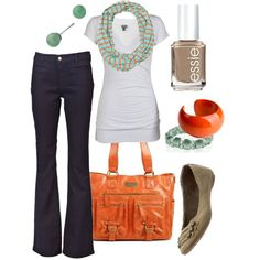 Tangerine/Sea Foam Green/White - Just lovely
