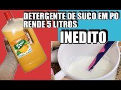 DETERGENTE COM SUCO EM PÓ, LIQUIDO FACIL E ECONOMICO RENDE 5 LITROS INEDITO - YouTube