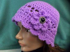 Lady's Hat back to school hat crochet beanie by Yarnhotoffthehook Crochet Flower Hat, Flower Hats, Crochet Beanie, Hand Crochet, Crochet Hats, Beanie Hats, Beanies, Victorian Hats, Winter Hats For Women