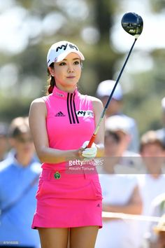 Shin-Ae Ahn of South Korea lines up her tee shot on the 7th hole during the second round of the World Ladies Championship Salonpas Cup at the Ibaraki Golf Club on May 5, 2017 in Tsukubamirai, Japan.