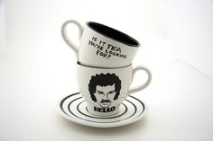 Hello is it tea you're looking for ,Lionel Richie,  Teacup and Saucer Black and White. $22.00, via Etsy.