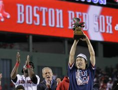 Uehara the last choice for Red Sox as closer | Boston Red Sox relief pitcher Koji Uehara hoists the most valuable player trophy after the Red Sox beat the Detroit Tigers 5-2 in Game 6 of the American League baseball championship series on Saturday, Oct. 19, 2013, in Boston. Uehara was named the series MVP, and the Red Sox advance to the World Series. (AP Photo/Matt Slocum)